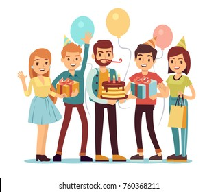Laughing and smiling people with gifts and cake. Happy birthday vector concept. People on birthday with gift and cake celebration illustration