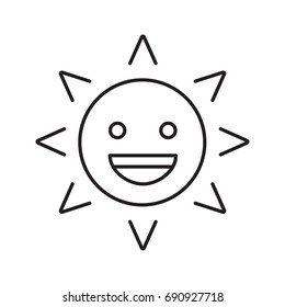 Laughing sun smile linear icon. Good mood. Happy sun face with smile. Thin line illustration. Summertime contour symbol. Vector isolated outline drawing