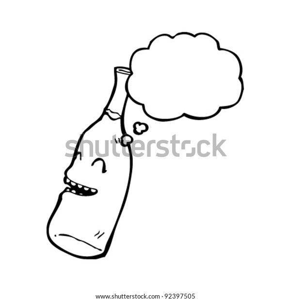 Laughing Wine Bottle Cartoon Character Thought Stock Vector Royalty Free 92397505