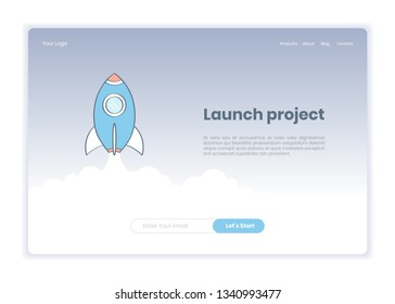Launch Business project, successful launch of startup header landing page template. Rocket Launch and UI web registration form banner. Flat outline modern vector on white background.