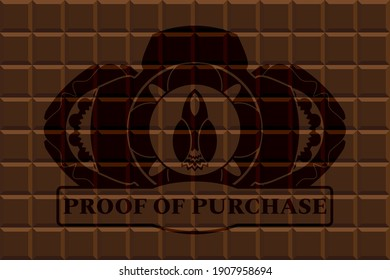 Launch icon and proof of purchase text chocolate emblem. Brown fashionable background. Illustration.