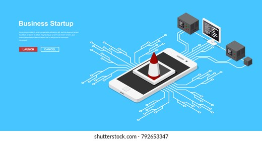 Launch of a mobile application or a new startup. Rocket or spacecraft takeoff from mobile phone. Concept banner in isometric style for new business, service or product starting.