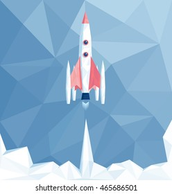 Launch polygonal spaceship in polygonal sky, rocket start low poly illustration, business startup concept