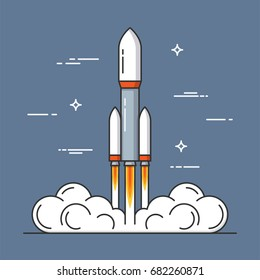 Launch of a rocket. Project start up. Thin line concept. Vector illustration.