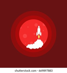 launch space rocket on mars. concept of humanity as an interplanetary species or planets exploration and research. simple flat trend modern round logotype graphic design isolated on red background