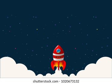 Launch of the space rocket vector.