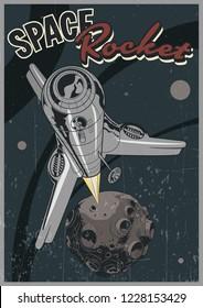 Launch Space Rocket Vintage Retro Futuristic Space Poster Stylization