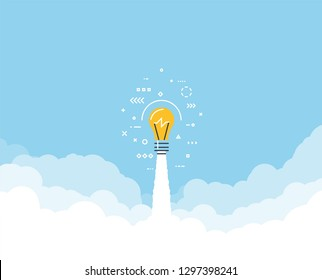 Launched lightbulb flying through cloud. Clouds and sky. White exhaust and blue sky. New project or business breakthrough. Line style vector illustration. Big idea launched.