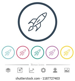 Launched rocket flat color icons in round outlines. 6 bonus icons included.