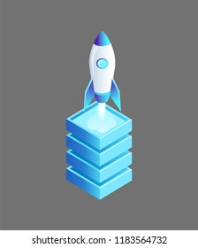 Launching spaceship flying rocket vector isolated isometric icon 3d. Cylindrical launcher ship with window standing on base pedestal ready to fly