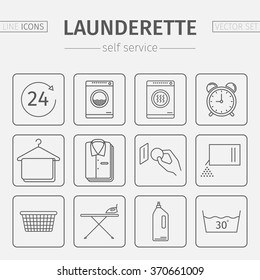Launderette signs. Self-service laundry. Vector line icons.