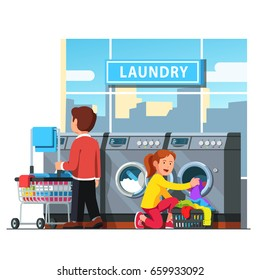 Laundromat self service. Man rolling wheeled laundry basket or cart & woman loading dirty clothes to washing machine in public launderette. Flat style vector illustration isolated on white background.