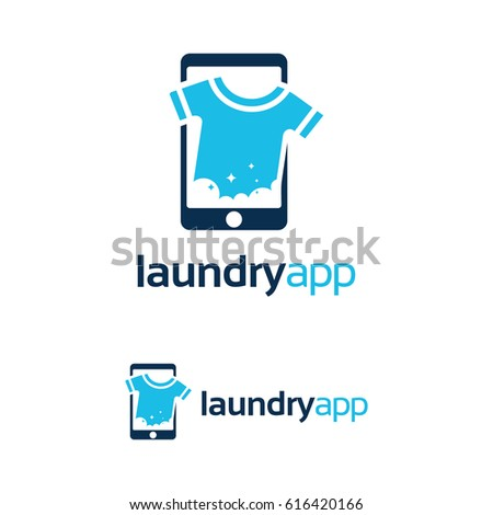 laundry app logo template design stock vector royalty free