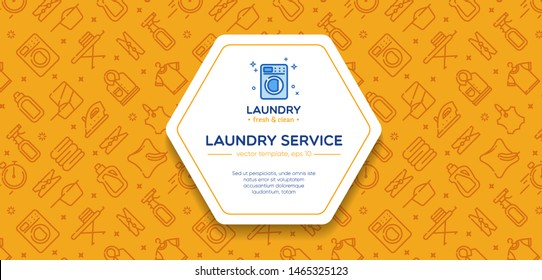 Laundry banner template with logo badge and outline pattern in square form. Card flyer poster illustration with your text for laundry, dry cleaning, housekeeping services. Home appliance.
