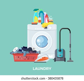 Laundry basket, clean cloth, washing machine, cleaner vacuum and detergents.