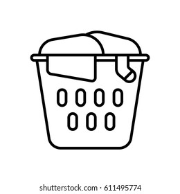 Laundry basket with dirty clothes outline icon.