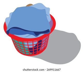 laundry basket full of garments