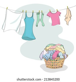 Laundry in Basket and hanging on Washing Line - grouped and layered easy to edit