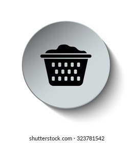 Laundry basket icon. Rounded button. Vector Illustration. EPS10