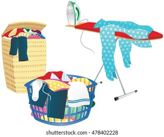 Laundry basket and ironing board.