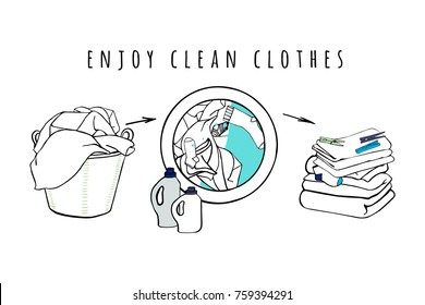 Laundry basket and washing machine with water and clothes. Folded sheets, towels and a detergent. Isolated symbols. Background for advertising, brochures, flyers.  Hand drawn vector Illustration.