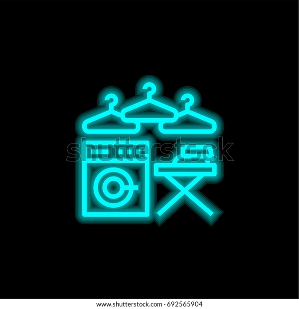 Laundry blue glowing neon ui ux icon. Glowing sign logo vector