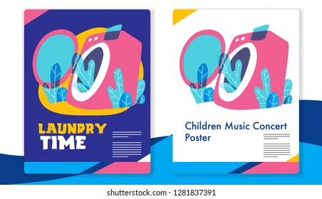 Laundry business template. mixcolor vector illustration