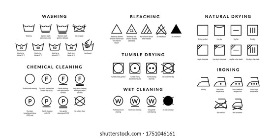 Laundry care icons. Machine and hand wash advice symbols, fabric cotton cloth type for garment labels. Vector illustrations symbolism wash description - Shutterstock ID 1751046161