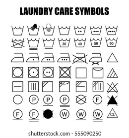 Laundry care symbols set. Wash, bleach, iron, dry and dry clean symbols.
