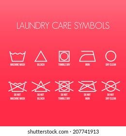 Laundry care symbols, Vector graphic
