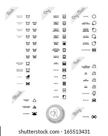 Laundry care symbols. Vector set. Black style.