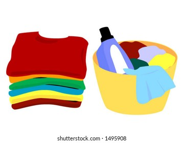 Laundry - Clean and Soiled - Vector