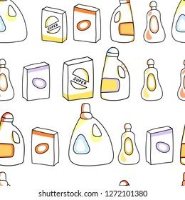 Laundry and cleaning chemical detergent boxes and bottles seamless pattern, vector