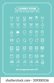 Laundry and clothing care symbols set