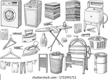 Laundry collection, equipment, illustration, drawing, engraving, ink, line art, vector