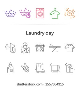 Laundry day line icon set. Clean clothes, washing, detergent. Household concept. Can be used for topics like hygiene, laundromat, service