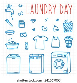 Laundry day set hand drawn doodle vector objects