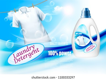 Laundry detergent ad. Plastic bottle  and white shirt on rope. Design template. Vector