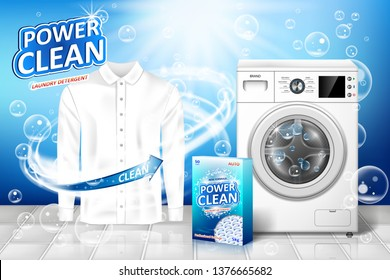 Laundry detergent ad. Stain remover banner design with realistic washing machine and laundry detergent package with clean white shirt. vector illustration