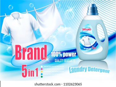 Laundry detergent ad. White clothes hanging on rope and plastic bag. Design template. Vector
