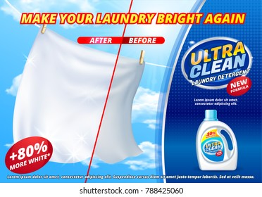 Laundry detergent ads, bright white clothes hang out to dry on blue sky background, product package realistic 3d Vector illustration. fragrance fabric softener gel white laundry detergent new formula