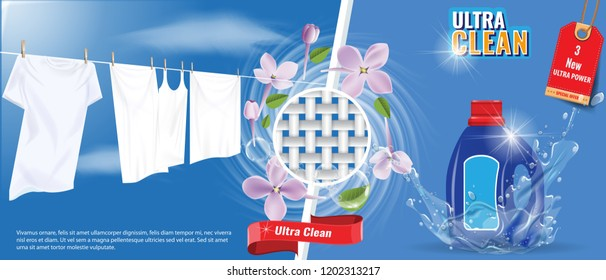 Laundry detergent advertisement template with water splash effect, white clothes and nice flowers. Vector Illustration.