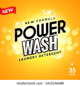 Laundry detergent background design. Clean power powder soap laundry, wash product package design.
