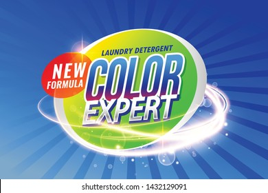 laundry detergent color expert packaging concept template