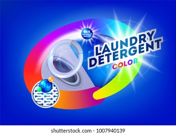 Laundry detergent for colored fabrics. Template for laundry detergent. Package design for Washing Powder & Liquid Detergents. Vector illustration