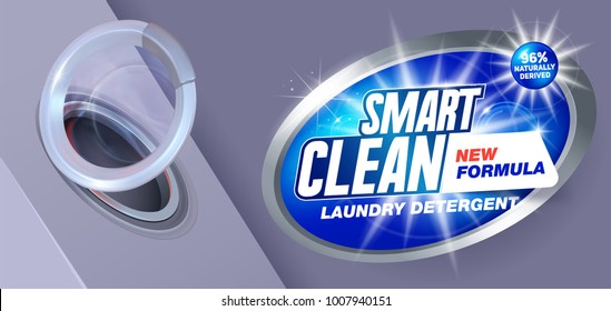 Laundry detergent concept for smart clean wash with new formula. Package design for Washing Powder & Liquid Detergents. Vector illustration