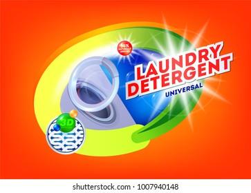Laundry detergent for universal washing. Template for laundry detergent. Package design for Washing Powder & Liquid Detergents. Vector illustration