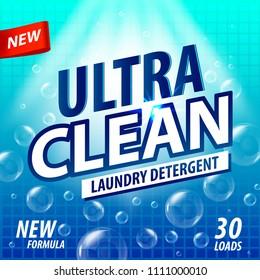 Laundry Detergent package vector concept design. Detergent powder design, cleaner label. Bathroom tub cleaner label template for your design