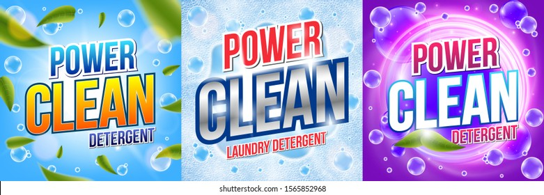 Laundry detergent. Powder for washing. Means for dishwashing. Power wash concept with water splash. Package banner design template. Advertising vector illustration.