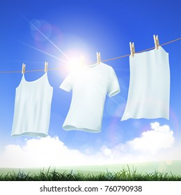 Laundry detergent. Washing white clothes hanging on the rope. Stock vector illustration.